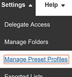 manage preset profiles
