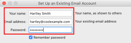 Enter name, email address and password
