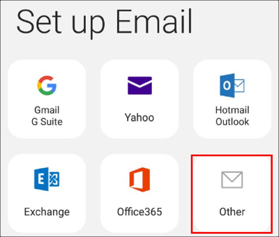 Select Other set up email option