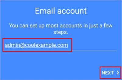 Wprowadź adres e -mail i naciśnij Dalej