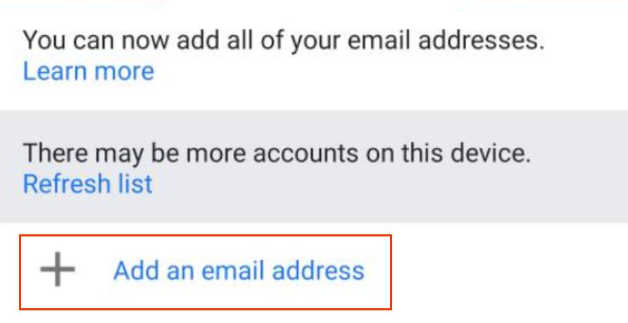 Toca agregar dirección de correo electrónico