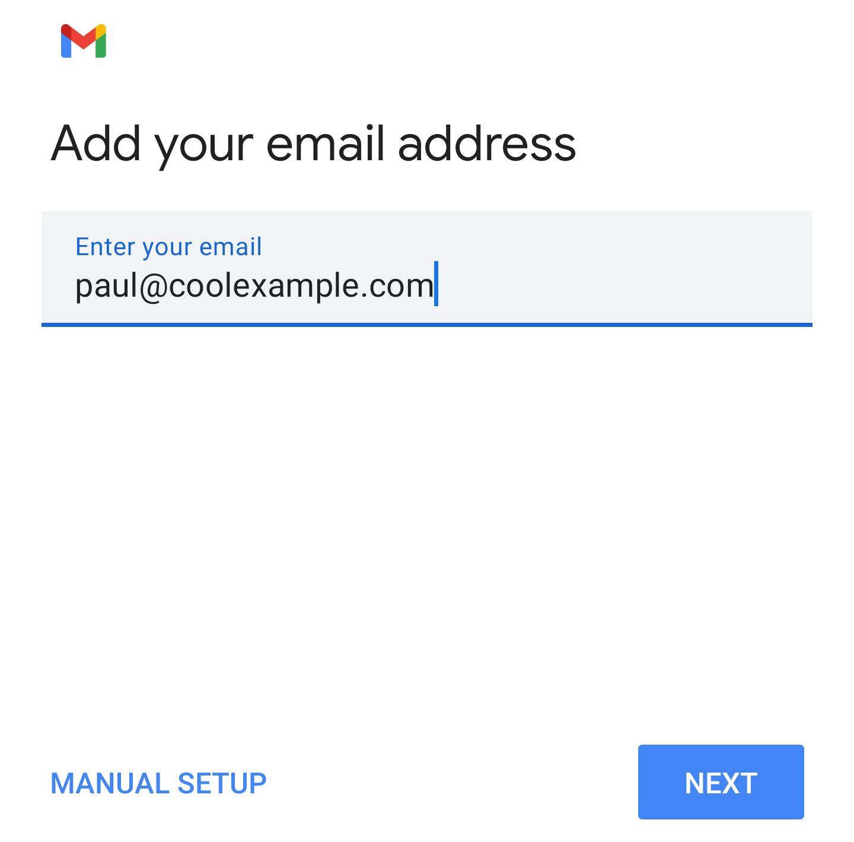Ingresa la dirección de correo electrónico y toca siguiente
