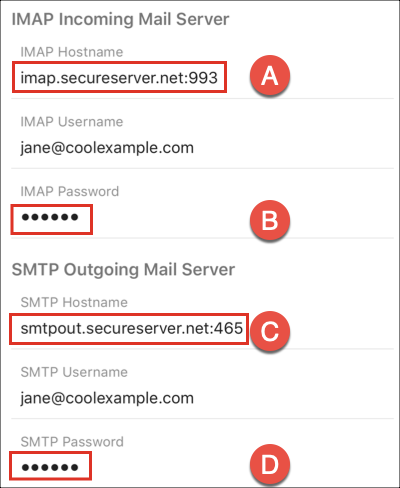 Voer de IMAP- en SMTP -server- en poortinstellingen in