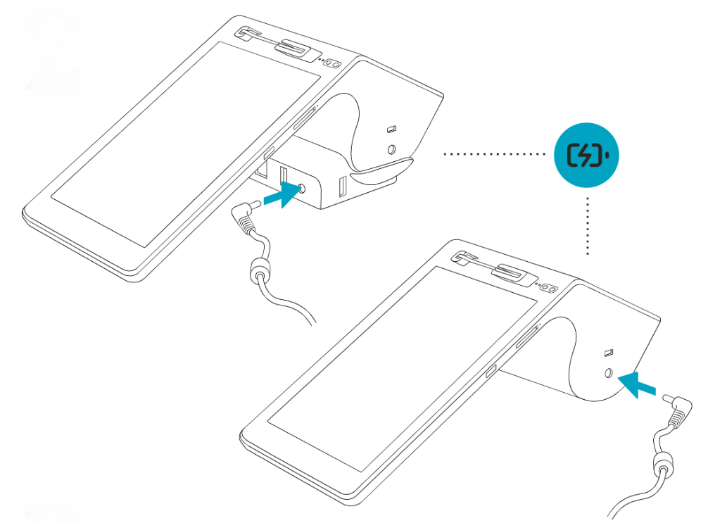 charge the device with a charging cradle or USB cord