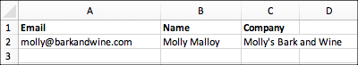 Example layout for spreadsheet to import contacts.