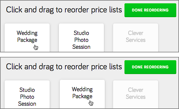 Click and drag a menu/price list to change its position in the order.