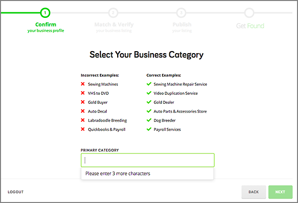 Get Found displays business examples based on your choice in Step 3