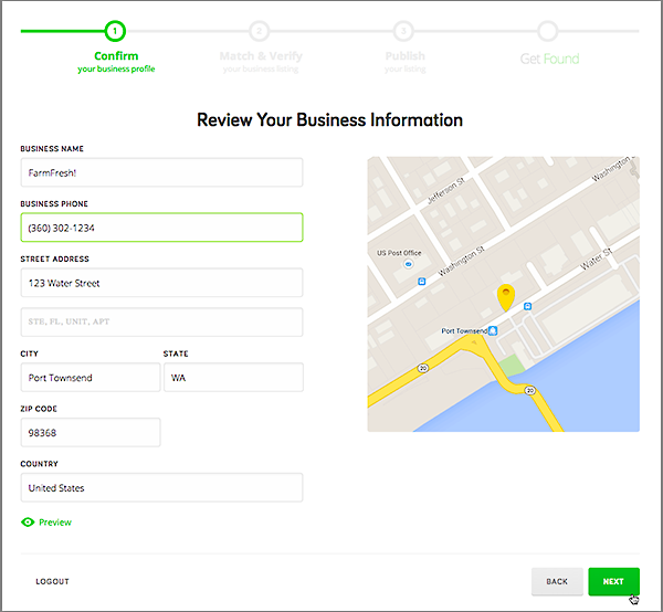 Review Your Business Information and add if desired
