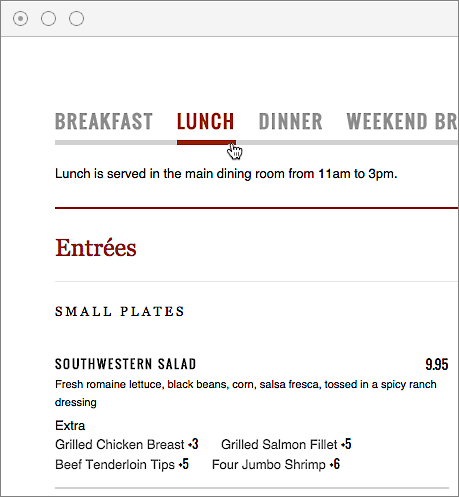 The main window shows how your menu looks with the template applied