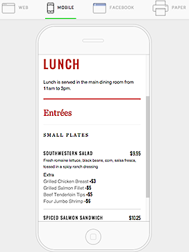 Menu on Mobile Device
