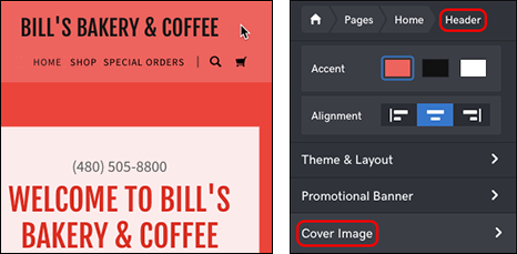 click header, then Cover Image button