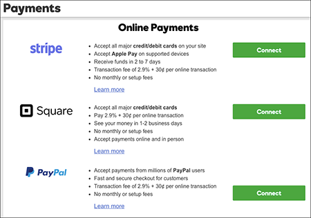 Click Connect next to payment method