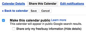 Centang Publikasikan kalender ini