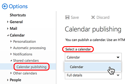 Select a calendar to use
