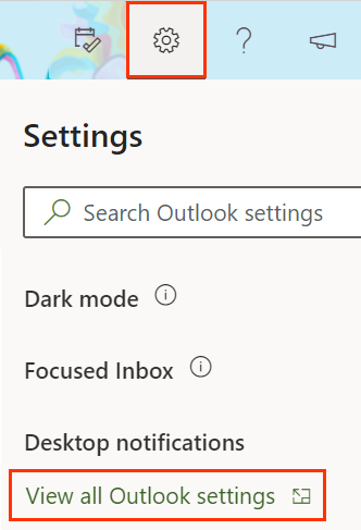 Gear button with View all Outlook settings underneath