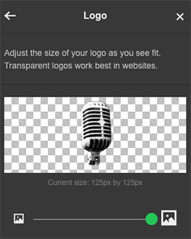 Sesuaikan panel geser untuk mengubah ukuran logo