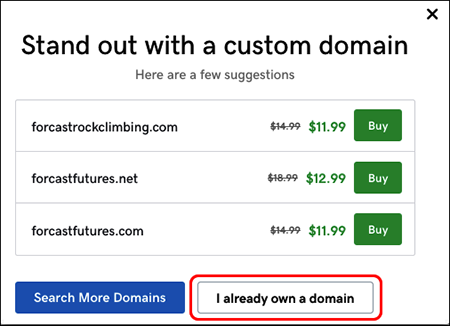 """Klicken auf """"Ich habe bereits eine Domain"""""""