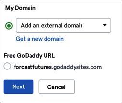 """Auswählen einer externen Domain und Klicken auf """"Weiter"""""""