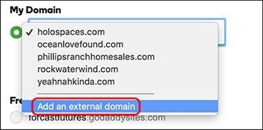 click Add an external domain
