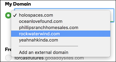 click GoDaddy domain above line