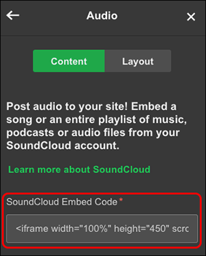 update embed code field content