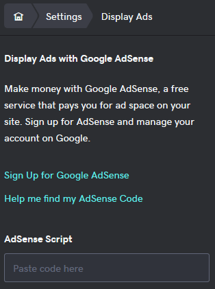 sign up for google AdSense