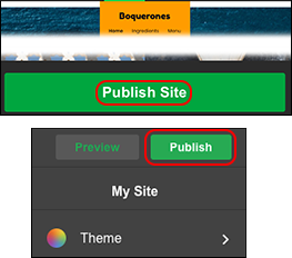 main publish site/publish button