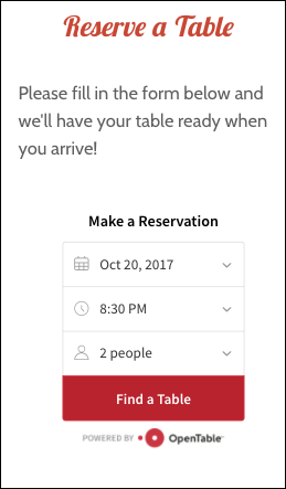 customer view of reservation form