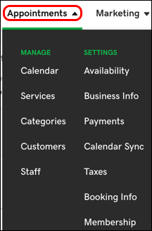 appointments tab