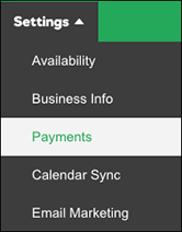 click payments in menu