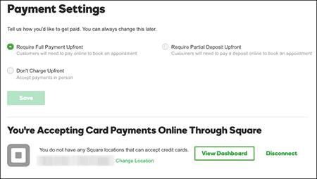 Configuración de modalidad de pago lista