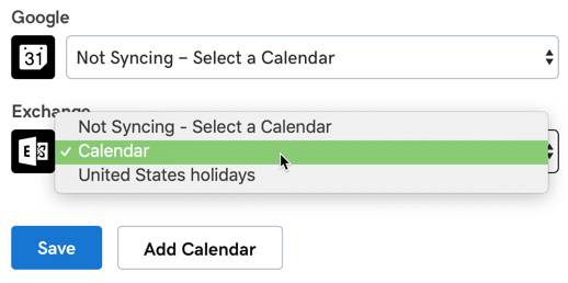 Select a calendar if you have multiple calendars from the same service.