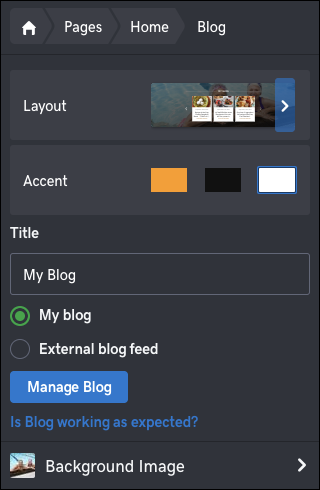 click manage blog