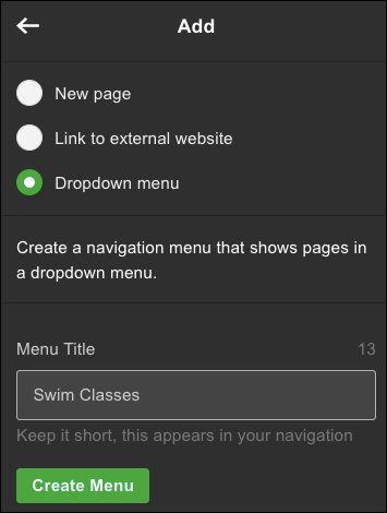 Choose Dropdown menu and name