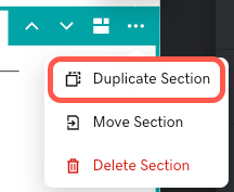 Screenshot of the duplicate section icon in the section settings menu