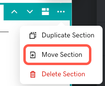Screenshot of the move section icon in the section settings menu