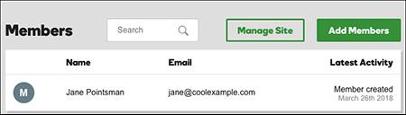 nombre y correo electrónico listados