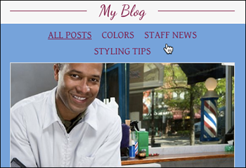 Fai clic in un punto qualsiasi della sezione del blog
