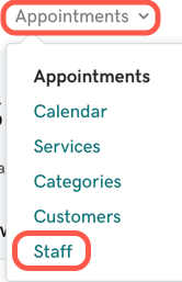 From the Dashboard, go to the Appointments item in the top nav then Staff.