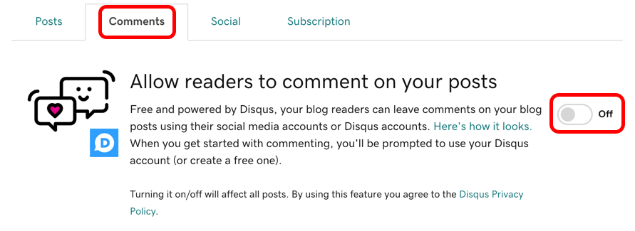 Change the toggle between Off and On to enable comments globally