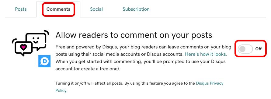 Faites passer l'interrupteur à Activé pour autoriser les commentaires dans l'ensemble du blog