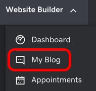 Si estás editando tu sitio web, ve al Creador de páginas web y luego a Mi blog