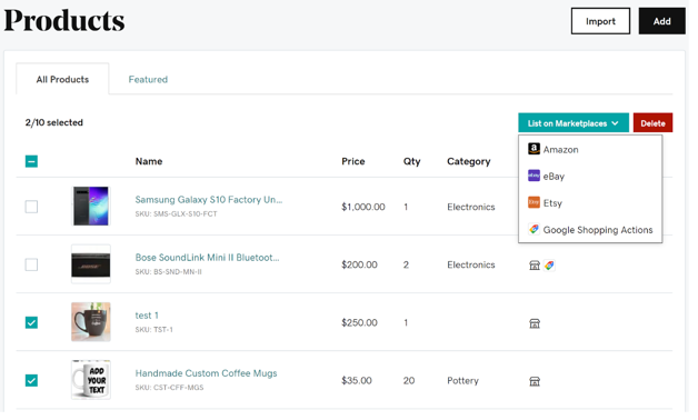 Check the products you want to list, then choose List on Marketplaces