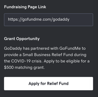 Screenshot of the Fundraising Page Link in GoDaddy