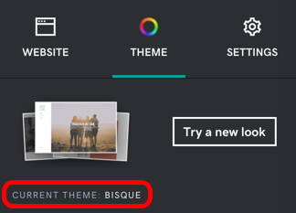 Screenshot of where to find your current theme name in the Theme menu. It's near Try a new look.