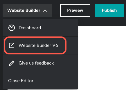 Screenshot where to find the link to open your old Website Builder version 6