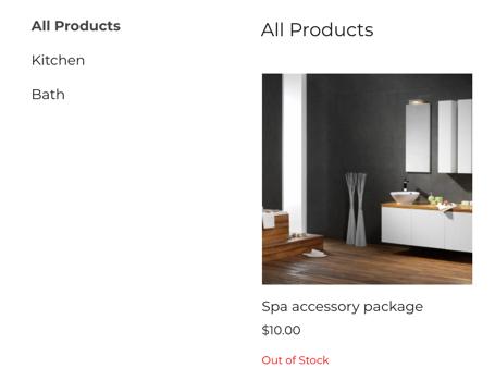 Qual é a aparência da etiqueta de falta de estoque em uma loja online de exemplo