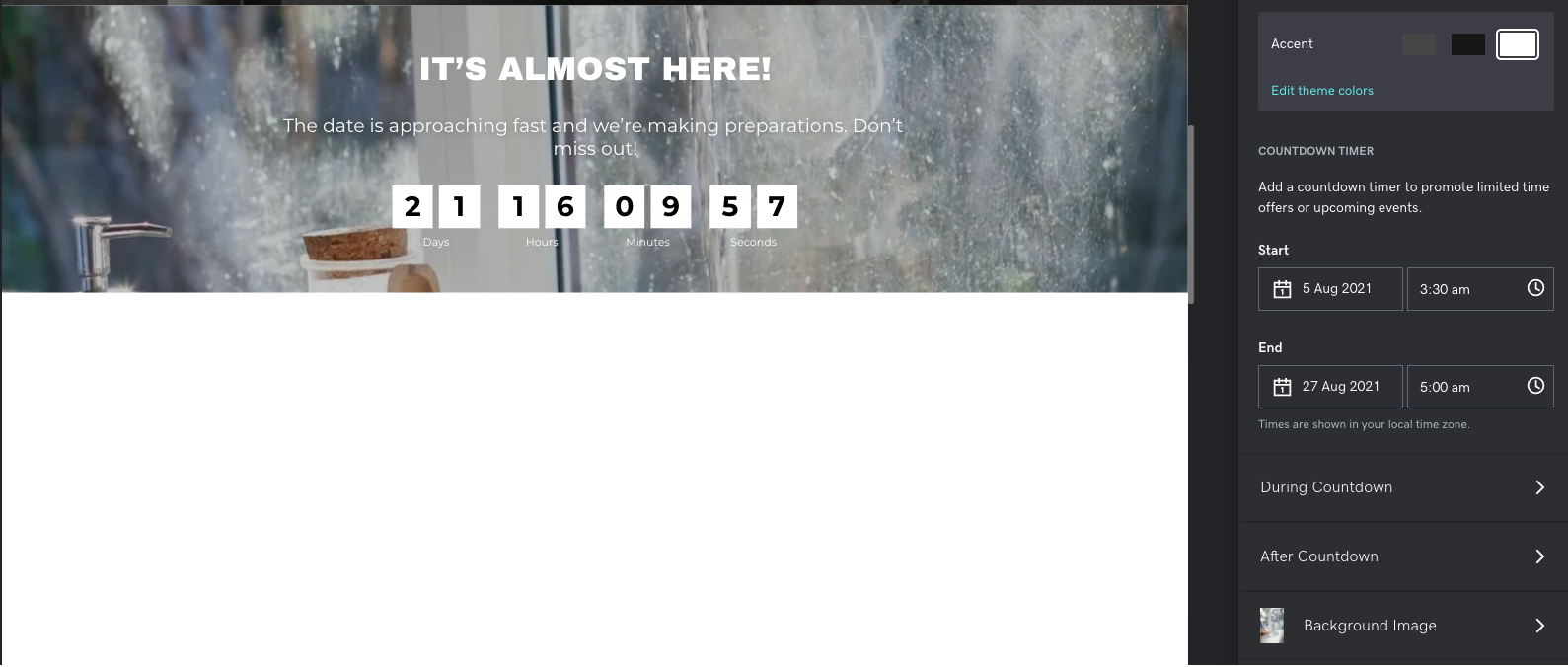 Screenshot of new countdown timer section