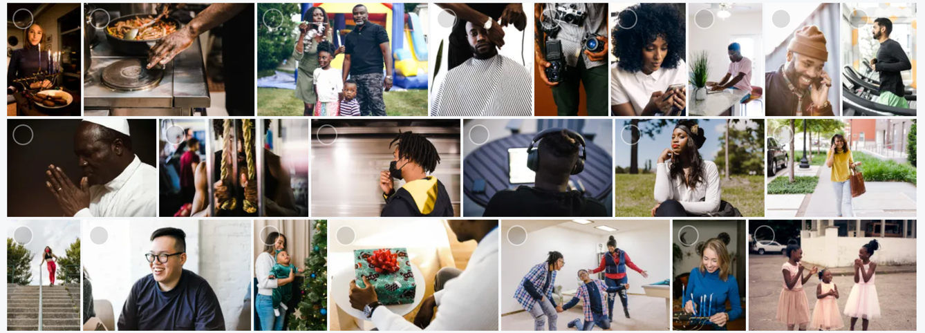 A sampling of the new diverse stock images
