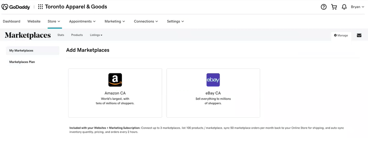 A screenshot of the new Marketplaces in Canada showing Amazon and Ebay